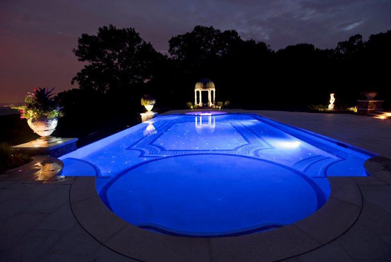 Classical Swimming Pool, Fiber Optics Mediterranean Pool Cipriano Landscape Design Mahwah, NJ
