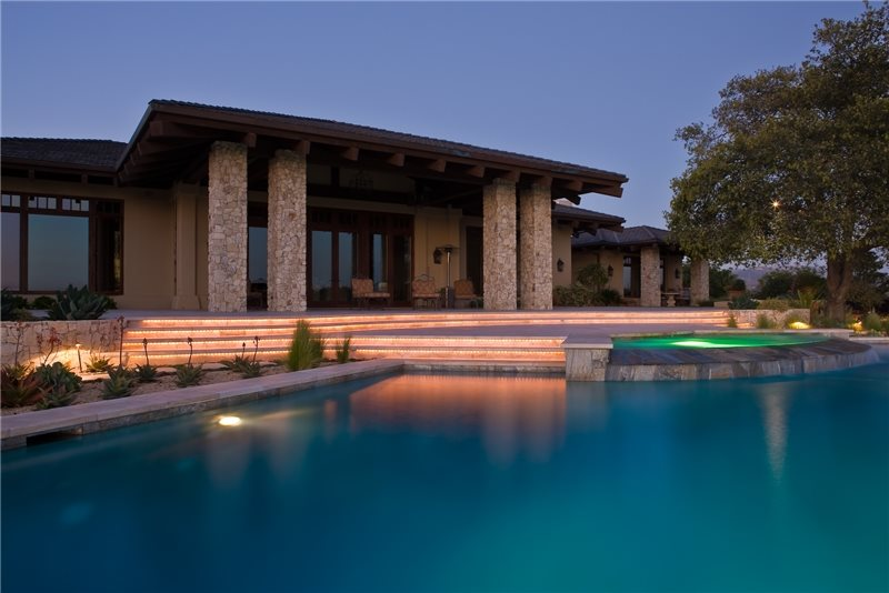Elegant Pool, Pool Lighting Mediterranean Pool Amelia B. Lima & Associates San Diego, CA
