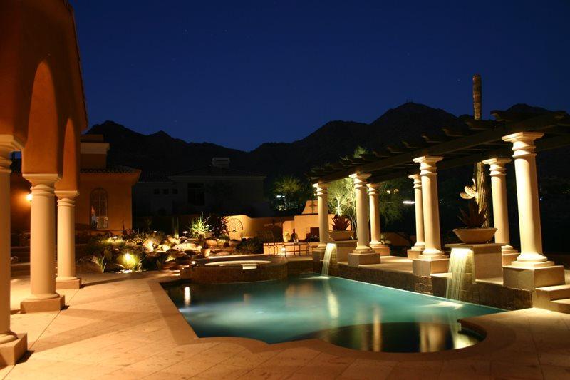 Pool, Mediterranean, Columns, Lights, Pergola Mediterranean Pool JSL Landscape LLC Sedona, AZ