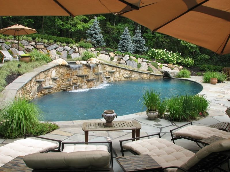 Mediterranean pool stony brook ny photo gallery for Swimming pool landscaping ideas