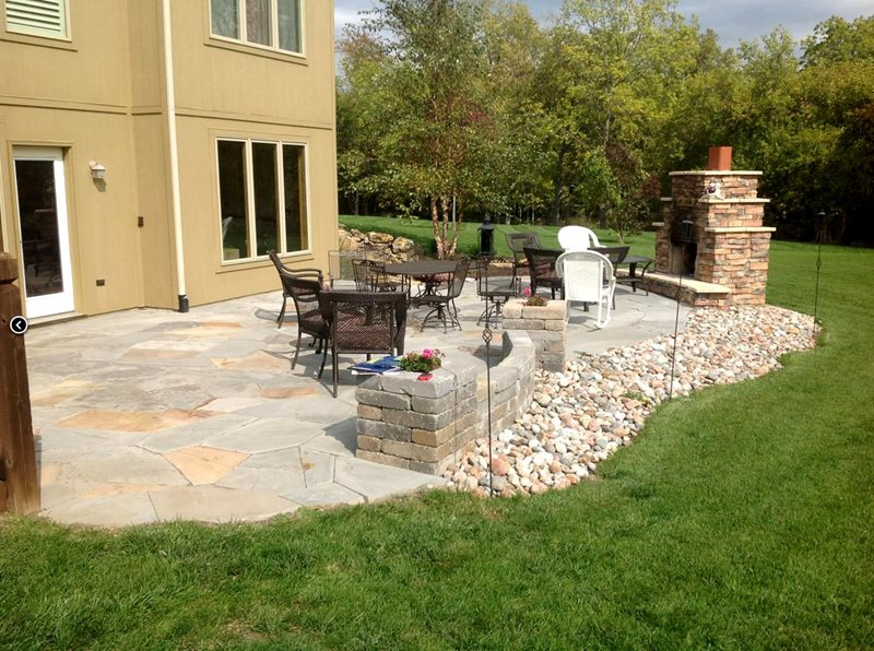 Backyard Flagstone Patio Midwest Landscaping Turf Designers Lees Summit, MO