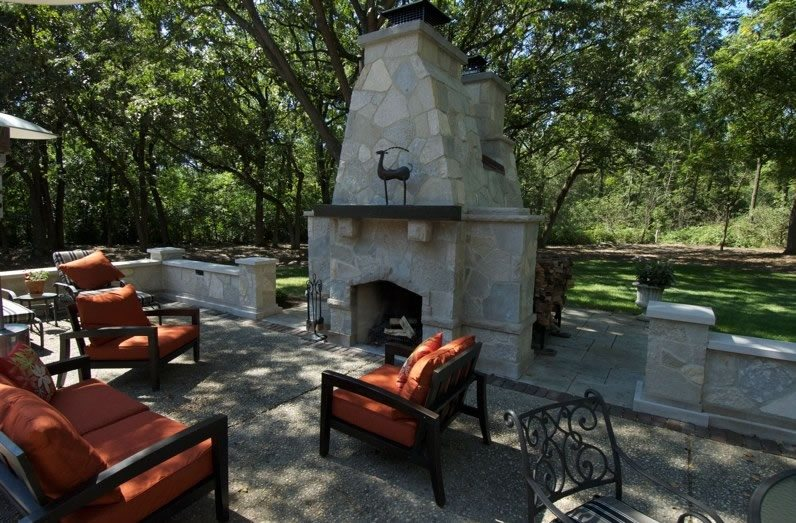 Double Outdoor Fireplace Midwest Landscaping Breckenridge Landscape New Berlin, WI
