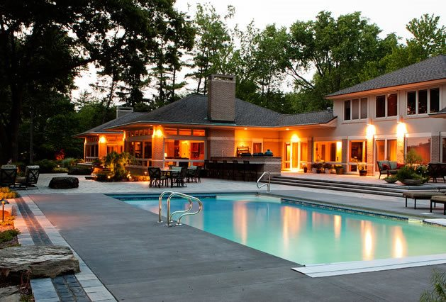 Midwest Swimming Pool, Concrete Pool Deck Midwest Landscaping Blue Ridge Landscaping Holland, MI