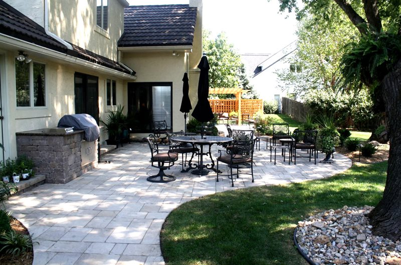 Organic Paver Patio, Wrought Iron Furniture Midwest Landscaping Turf Designers Lees Summit, MO