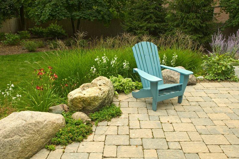 Paver Patio, Adirondack, Boulders, Retaining Midwest Landscaping Romani Landscape Architecture Glencoe, IL