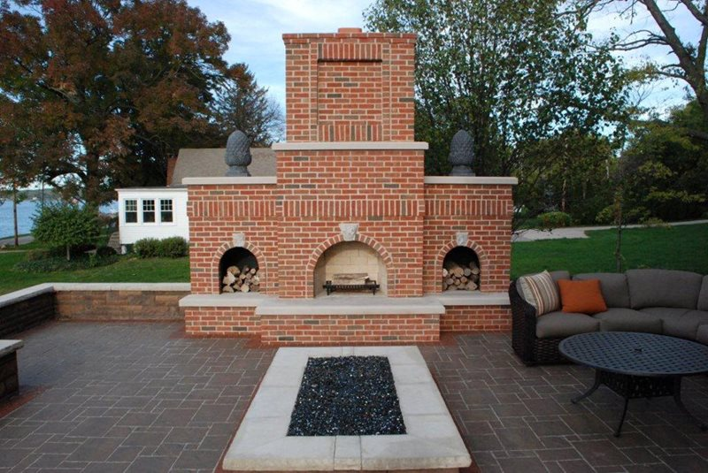 Red Brick Outdoor Fireplace, Wood Storage Midwest Landscaping Outdoor Innovations Aledo, IL