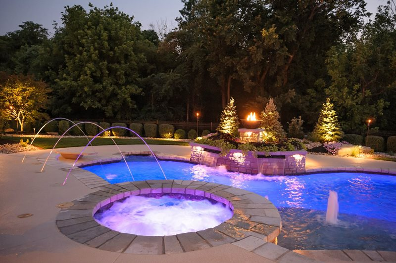 Spa Lighting, Deck Jets Midwest Landscaping Artistic Group Inc. St. Louis, MO