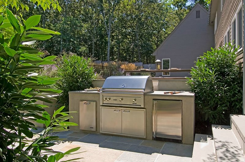 Backyard Small Outdoor Kitchen Modern Landscaping Barry Block Landscape Design & Contracting East Moriches, NY