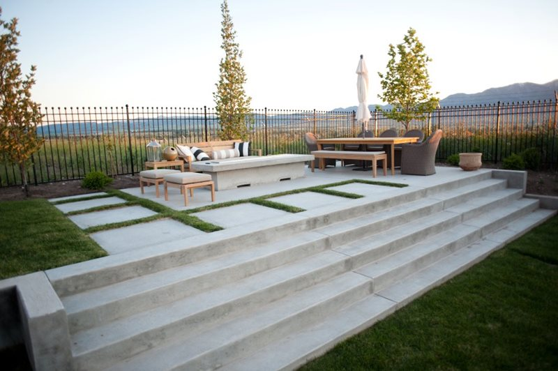 Concrete Patio, Concrete Stairs, Concrete Fire Pit Modern Landscaping Ag-Trac Enterprises Logan, UT