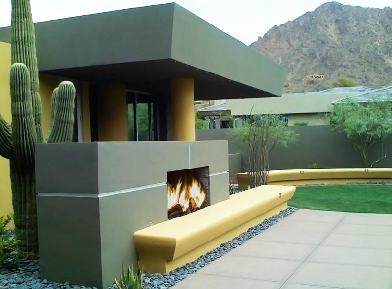 Contemporary Outdoor Fireplace Modern Landscaping Bianchi Design Scottsdale, AZ