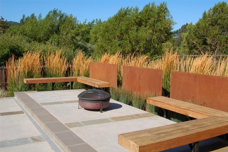 Fire Pit Modern Landscaping Huettl Landscape Architecture Walnut Creek, CA