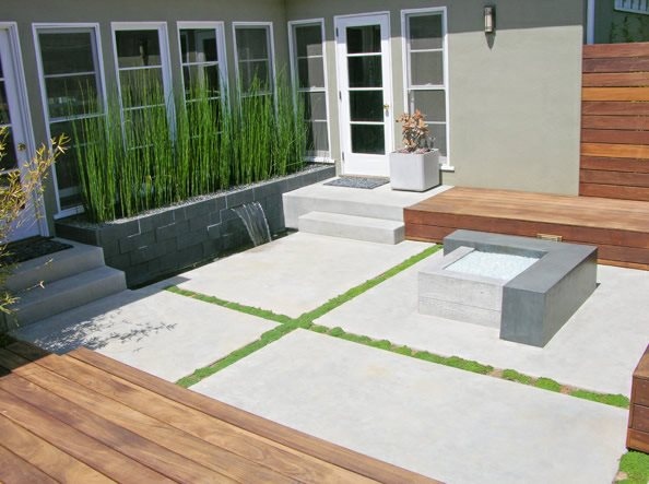 Modern, Concrete, Patio, Fire Feature Modern Landscaping DC West Construction Inc. Carlsbad, CA