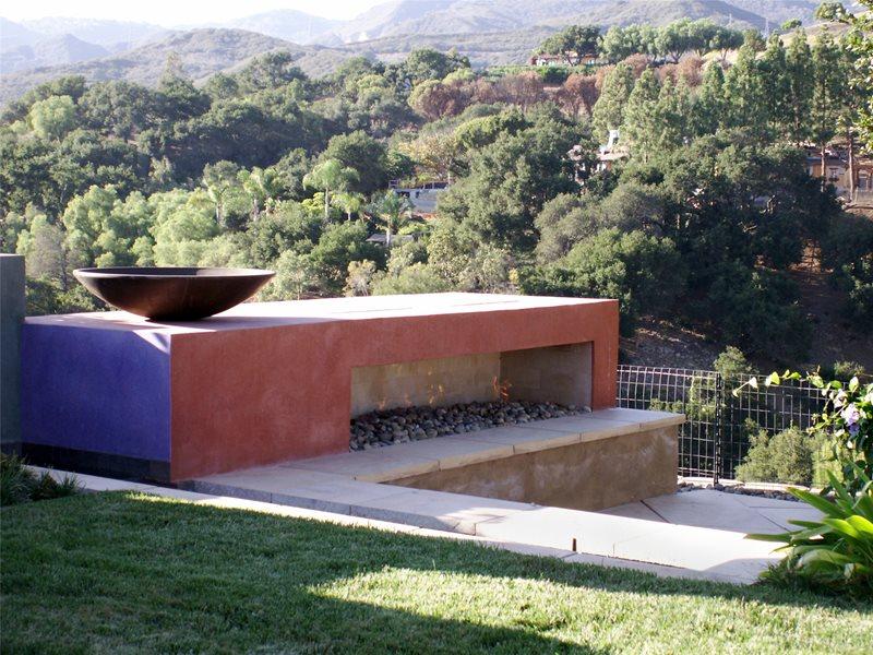 Modern, Fireplace Modern Landscaping Grace Design Associates Santa Barbara, CA