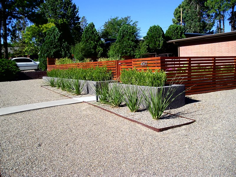 Modern Front Yard Landscape Modern Landscaping Red Twig Studio Albuquerque, NM