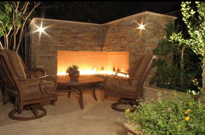 Outdoor Corner Fireplace Modern Landscaping Unique Landscapes by Griffin Mesa, AZ