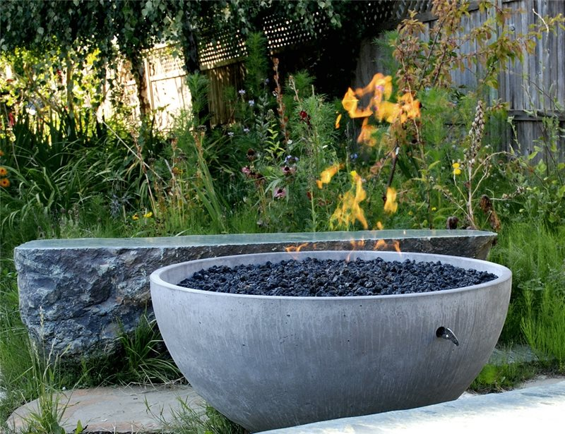 Outdoor Fire Bowl Modern Landscaping Solus Decor Vancouver, BC