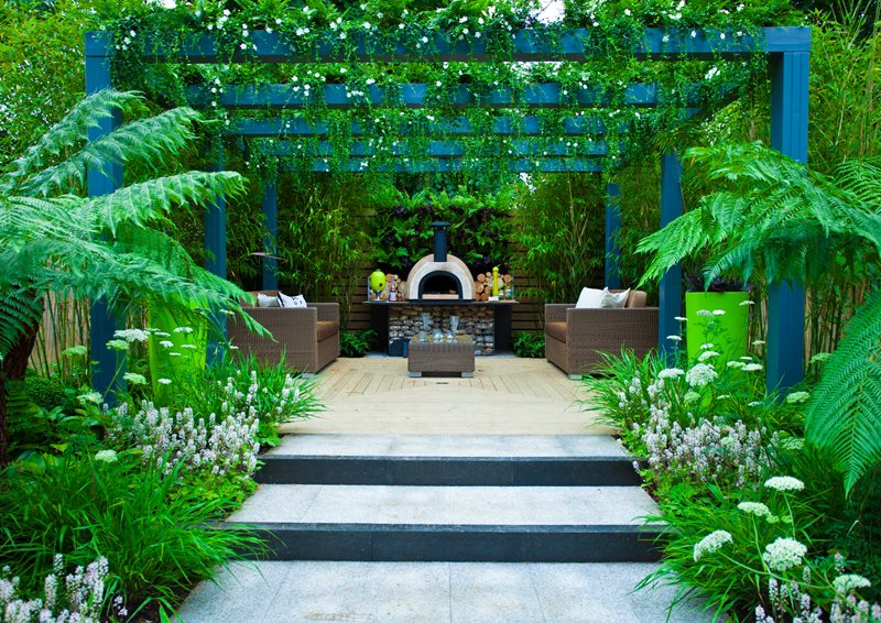 Pergola Plants, Pizza Oven Modern Landscaping Landscaping Network Calimesa, CA