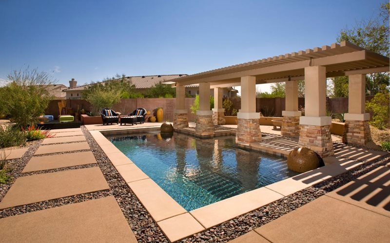 Poolside Pergola Modern Landscaping Bianchi Design Scottsdale, AZ