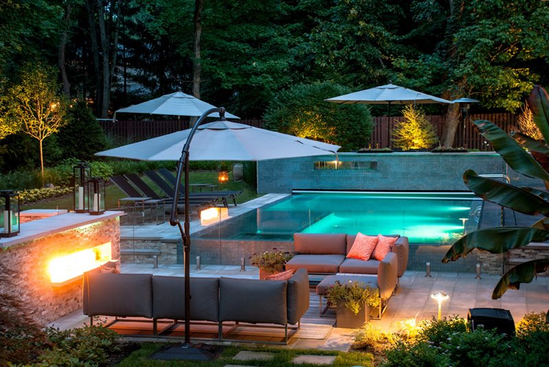 Swimming Pool Lights, Pool Tile Wall Modern Landscaping Cipriano Landscape Design Mahwah, NJ