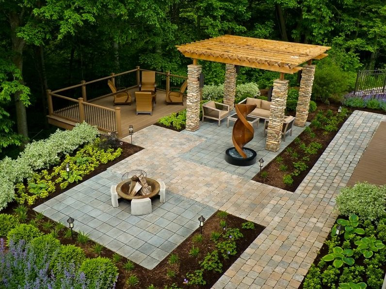 Wheelchair Accessible Backyard Modern Landscaping The Cornerstone Landscape Group Fort Wayne, IN