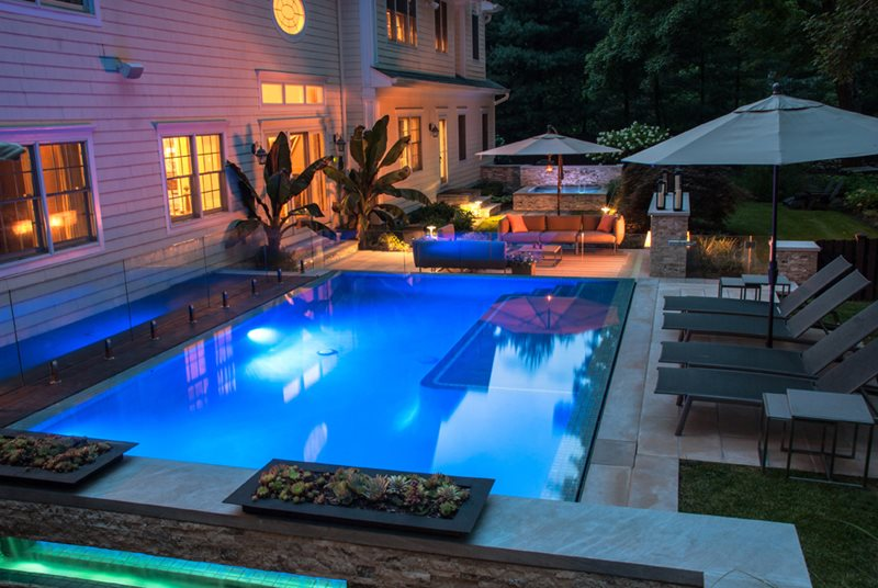 Blue Swimming Pool, Custom Swimming Pool Modern Pool Cipriano Landscape Design Mahwah, NJ