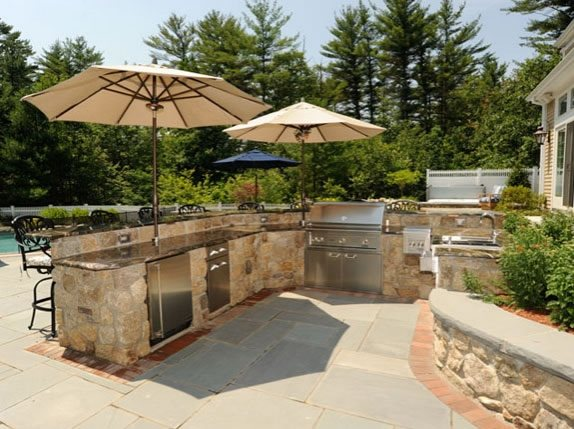 Outdoor Kitchen Umbrellas Northeast Landscaping ND Landscape, Inc. Georgetown, MA