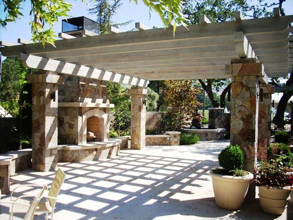 Fireplace Pergola Northern California Landscaping Cagwin & Dorward Novato, CA