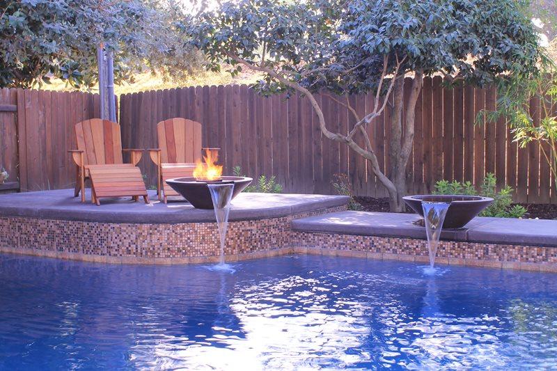 Pool Water Features, Raised Bond Beam Northern California Landscaping Poseidon Pools Folsom, CA