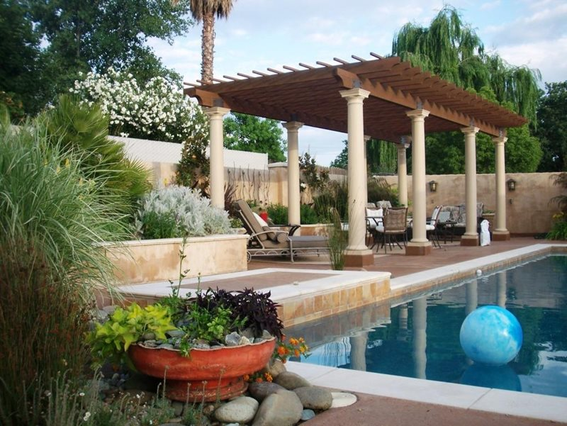 Poolside Pergola Northern California Landscaping Karen McGrath Design Redding, CA