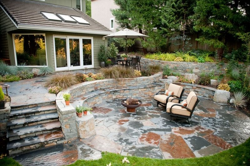 Rustic, Patio, Stone, Outdoor Living, Walls, Steps, Fire Pit Oregon Landscaping Gregg and Ellis Landscape Designs Portland, OR
