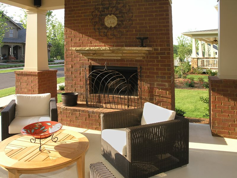 Brick Porch Fireplace, Front Yard Fireplace Outdoor Fireplace Landscaping Network Calimesa, CA
