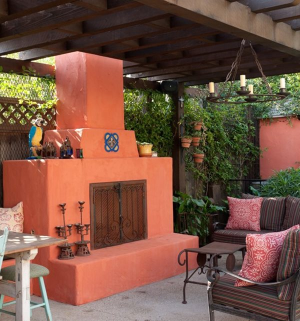 Bright Fireplace, Orange Fireplace Outdoor Fireplace Sandy Koepke Interior Design Los Angeles, CA