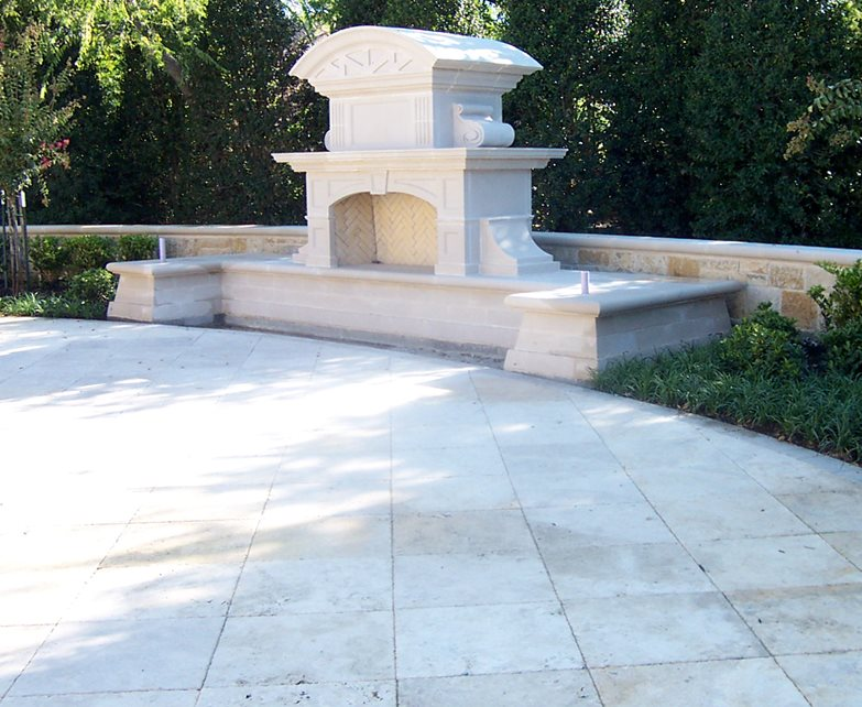 Carved Stone Outdoor Fireplace Outdoor Fireplace ForeverGreen Landscape Dallas, TX
