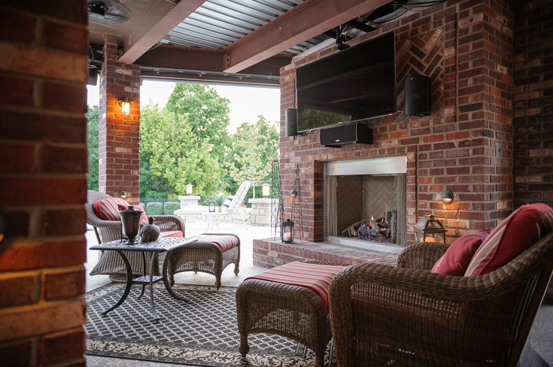 Covered Outdoor Fireplace, Brick Outdoor Fireplace Outdoor Fireplace Artistic Group Inc. St. Louis, MO