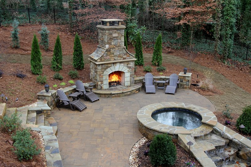 Custom Stone Backyard Fireplace Outdoor Fireplace Artistic Landscapes  Woodstock, GA