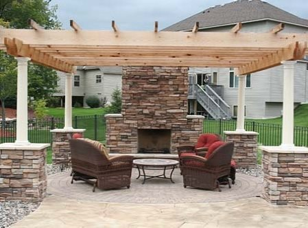 Outdoor Fireplace Ham Lake Mn, Outside Fireplace With Pergola