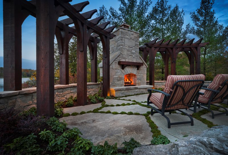 Fireplace Pergola, Stone Arch Outdoor Fireplace Zaremba and Company Landscape Clarkston, MI