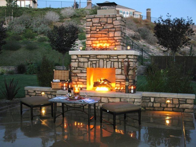Fireplace Seat Walls Outdoor Fireplace Promised Path Landscape Inc. Chula Vista, CA
