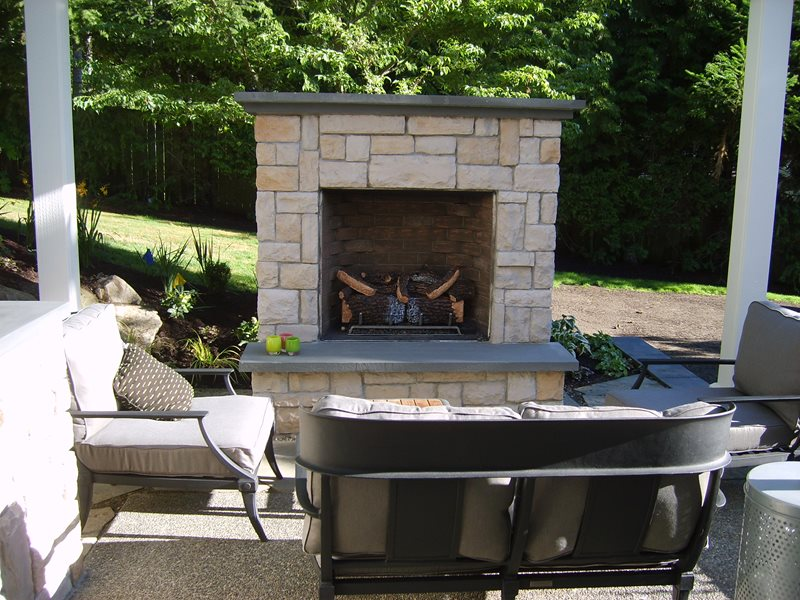 Gas Outdoor Fireplace, Small Outdoor Fireplace Outdoor Fireplace Environmental Construction, Inc. Kirkland, WA