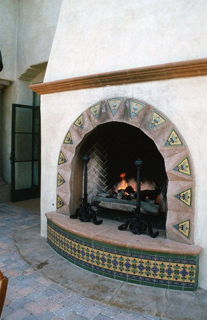 Glazed Tiles, Spanish Fireplace Design Outdoor Fireplace Maureen Gilmer Morongo Valley, CA