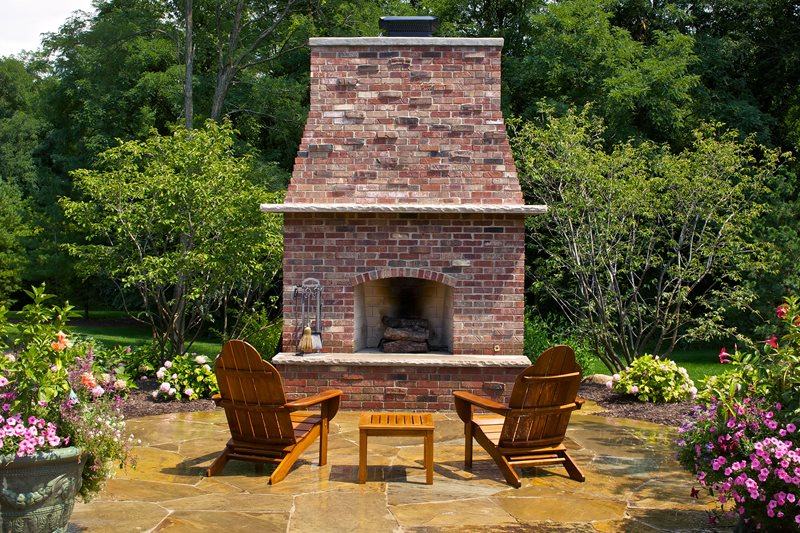 Large Brick Backyard Fireplace Outdoor Fireplace Small's Landscaping Inc Valparaiso, IN