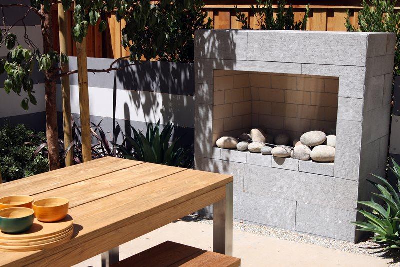 Modern Backyard Fireplace Outdoor Fireplace Landscaping Network Calimesa, CA