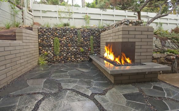 Modern, Fireplace, Flagstone, Black Outdoor Fireplace DC West Construction Inc. Carlsbad, CA