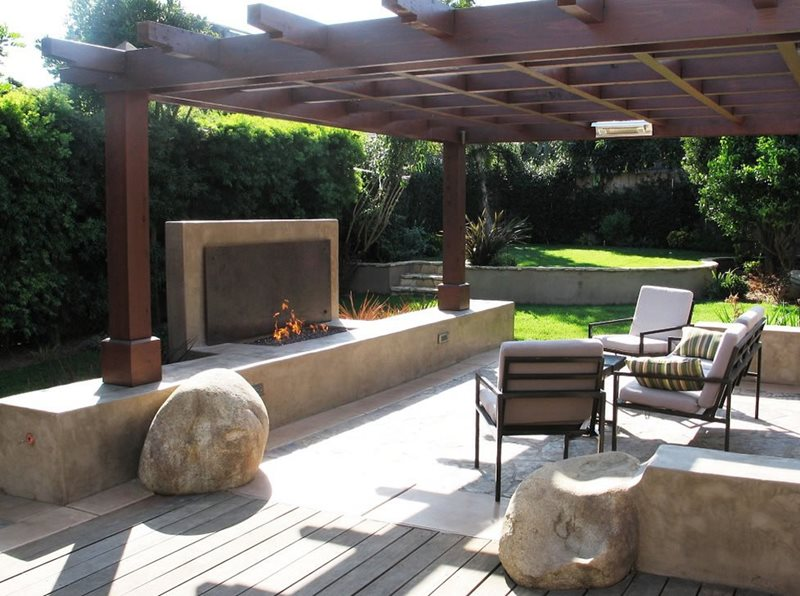 Modern Fireplace Pergola Outdoor Fireplace Grounded Landscape Architecture and Planning Encinitas, CA