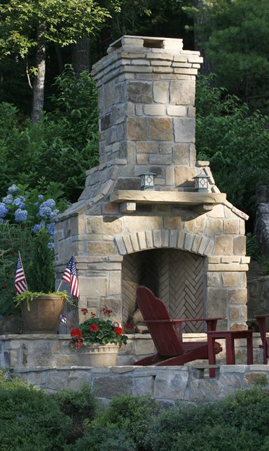 Natural Stone Outdoor Fireplace, Wood Mantel Outdoor Fireplace Landscaping Network Calimesa, CA