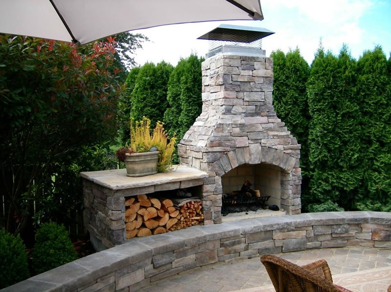 Outdoor Fireplace Wood Box Crystal Springs Landscapes Portland Or