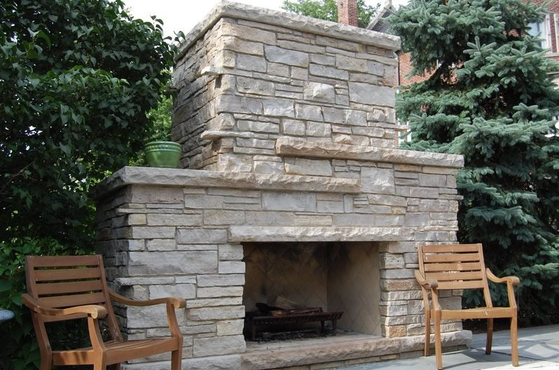 Outdoor Stone Fireplace Outdoor Fireplace Green City Landscapes Chicago, IL