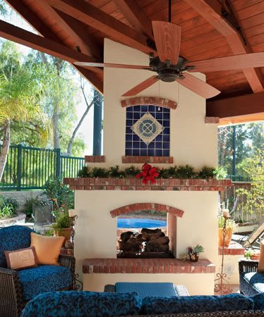 Patio Cover, Fireplace, Fan Outdoor Fireplace Terry Design Inc Fullerton, CA