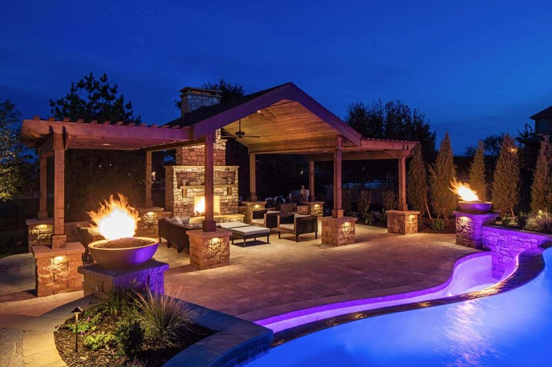 Pergola Lighting, Luxury Backyard Outdoor Fireplace McKay Landscape Lighting Omaha, NE