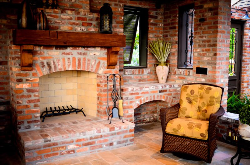 Red Brick Fireplace, Distressed Wood Mantel Outdoor Fireplace Angelo's Lawn-Scape Of Louisiana Inc Baton Rouge, LA